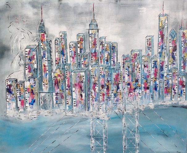 Mein New York  100x 120cm - Acryl auf Leinwand - verkauft -