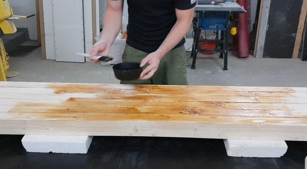 Sitzbank / Gartenbank selber bauen versiegelung der Sitzfläche