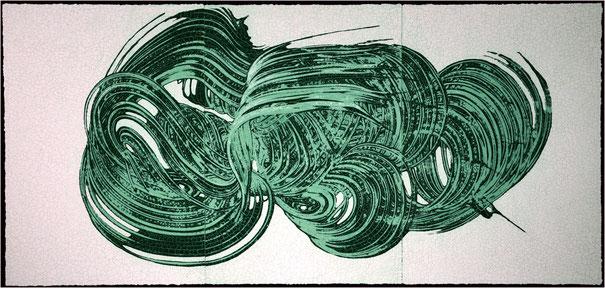 Großer Drift in Grün  /  Triptychon  (180X85cm)    2012