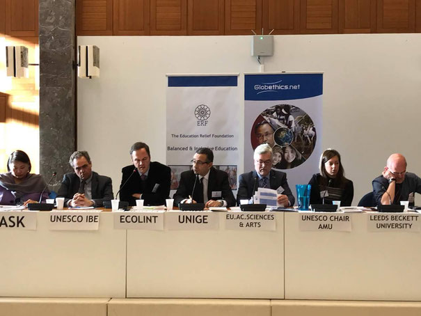 Round table on inclusive education at the Education Relief Foundation and Globethics conference. Geneva, December 2017