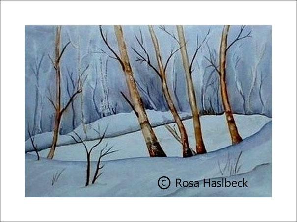 aquarell, winteraquarell, winter, schnee, bäume, kunst, bild, kaufen, malen, blau, braun