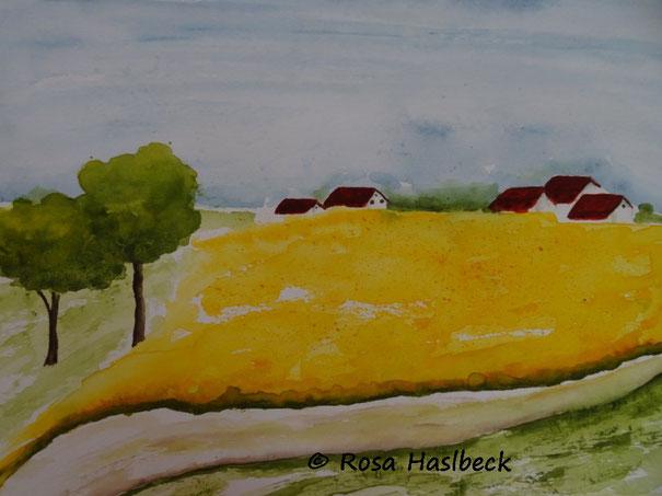 aquarell feld, rapsfeld, landschaft, häuser, baum, bild, kunst, kaufen, gelb, rot, grün,