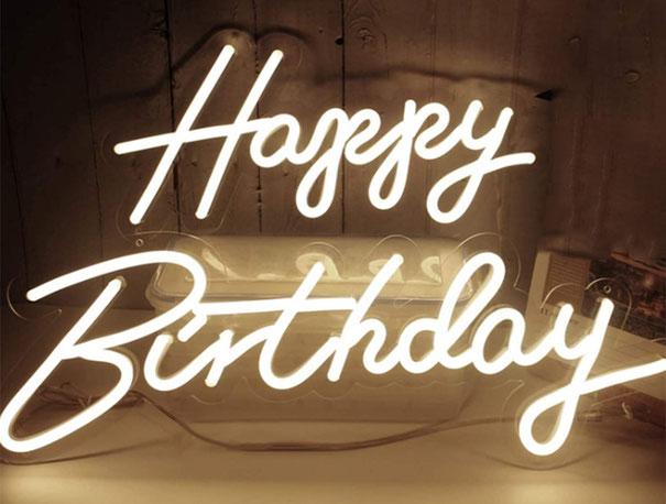 letrero neon flex para cumpleaños