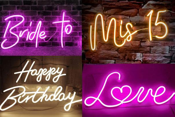 letreros neon flex para fiestas y eventos