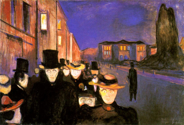 "Edvard Munch, ""Sera sul viale Karl Johann"""
