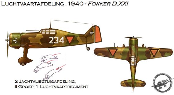 Il Fokker D.XXI a cui era affidata la difesa dei Paesi Bassi. Notare i simboli nazionali triangolari adottati prima dello scoppio della guerra.