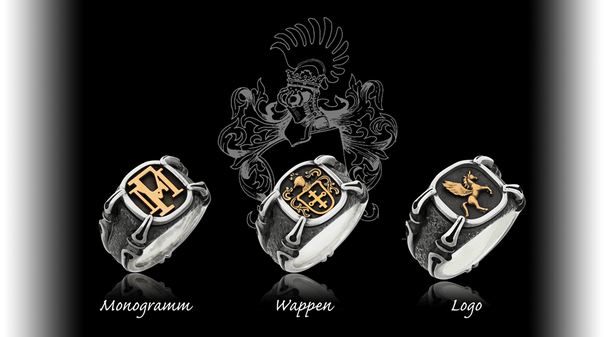 Einzigartige Wappenringe mit Monogramm, Wappen oder Logo. Handgefertigt und individuell gestaltet von der Goldschmiede OBSESSION in Zürich und Wetzikon.