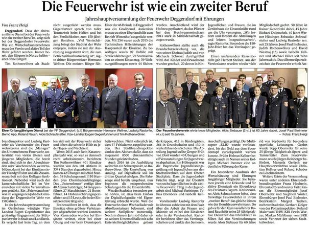 Toller Bericht der Printmedien aus Deggendorf über die Jahreshauptversammlung 2016