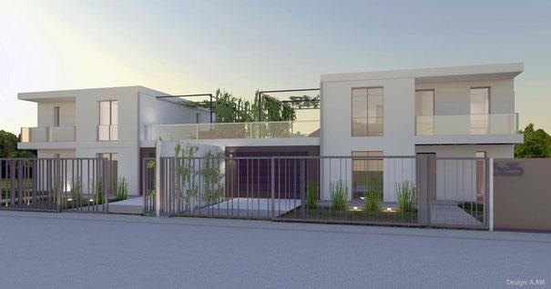 Immagine rendering esterno villa in bifamiliare Via Colugna