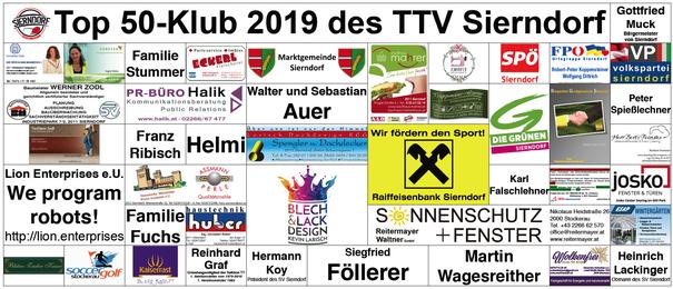 Das ist der aktuelle Top 50-Klub 2019 des TTV Sierndorf.