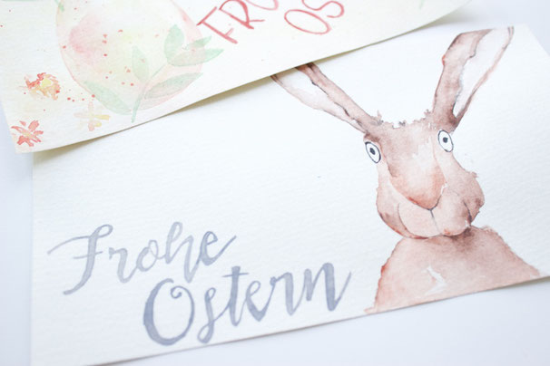 Wunderschöne Osterkarten selber bemalen mit Aquarell. Kostenlose Anleitung.