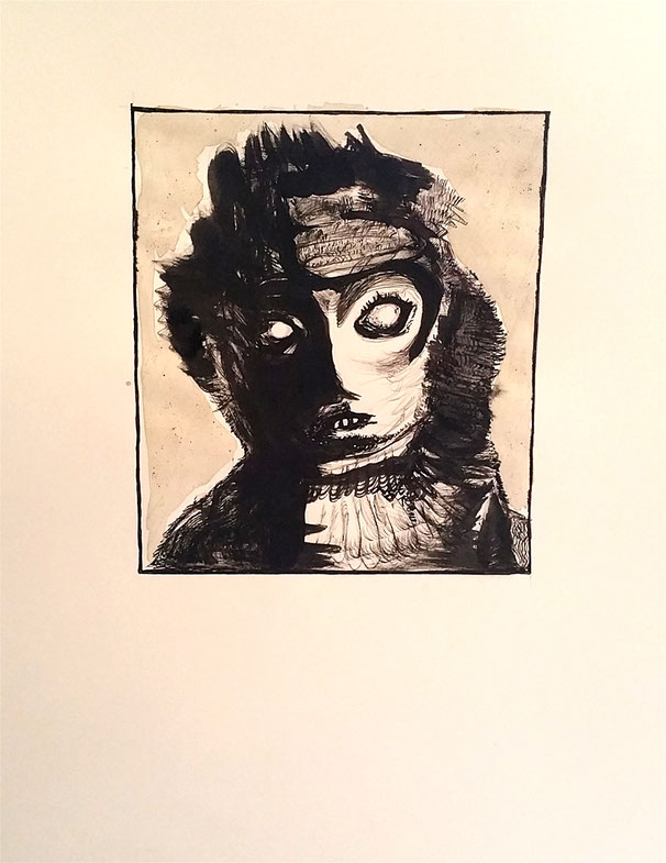 stare, 2020, ink on paper
