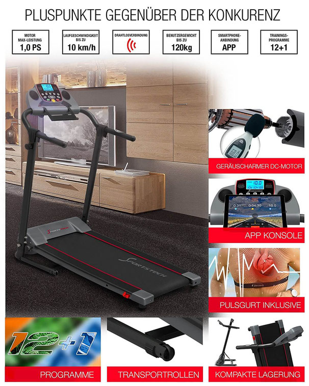 Sportstech F10 Leistung Laufband Vergleich
