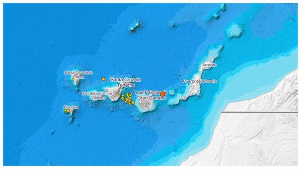 Erdbebenkarte für den Zeitraum 17.4. bis 27.4.2018