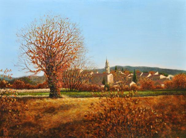 blauzac-provence-peinture-art-village-clocher-campagne-uzege
