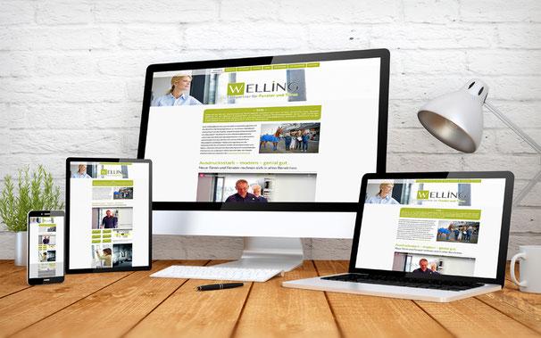 Homepage Ansicht auf verschiedenen Divices der Firma Welling Fenster und Türen in Bedburg-Hau.