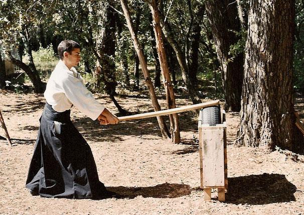 Jean-Baptiste VIGUIE. Tanren uchi lors de son année uchi deshi. Photo Jean-Luc BOISSEAU.