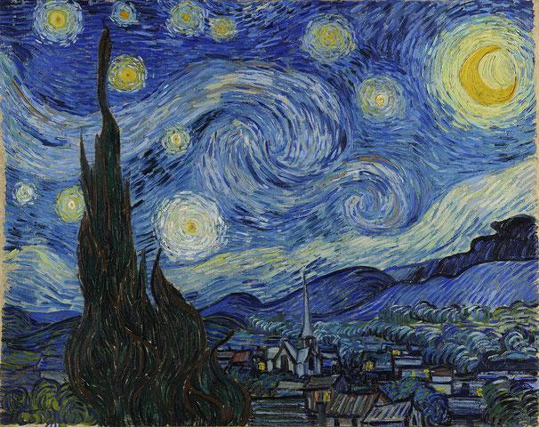 """Винсент Ван Гог - """"Звездная ночь"""". Написана в клинике для душевнобольных в Сен-Реми-де-Прованс"""