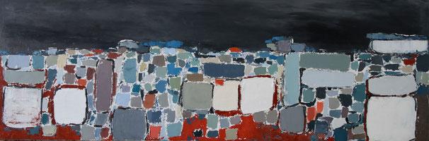 peinture abstraite dans le style de Stael. huile sur toile dans les tons de bleu-tableau long horizontal