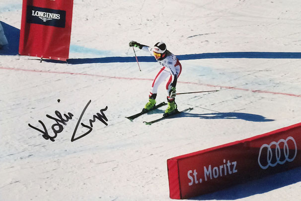 Kathrina Truppe Austria, Bronze Medal Junior World Championship, 5th Team Event World Championship St. Moritz, Silver Medal Team Event Olympia 2018, Picture taken at Team Event, Autograph by Mail