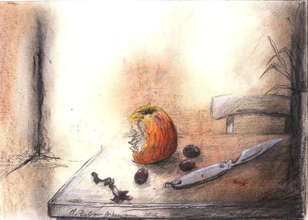 Angebissener Apfel, Klappmesser Zeichnung