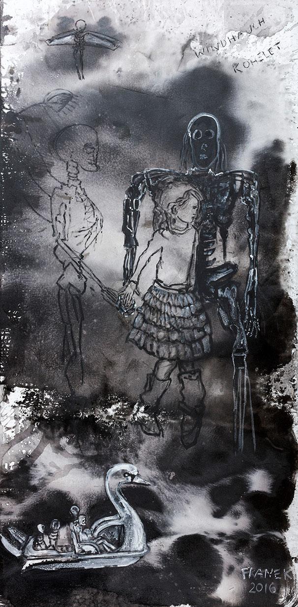 WINDHAUCH I | 2016 | Mischtechnik auf Wabenplatte | 239 × 118,5 cm