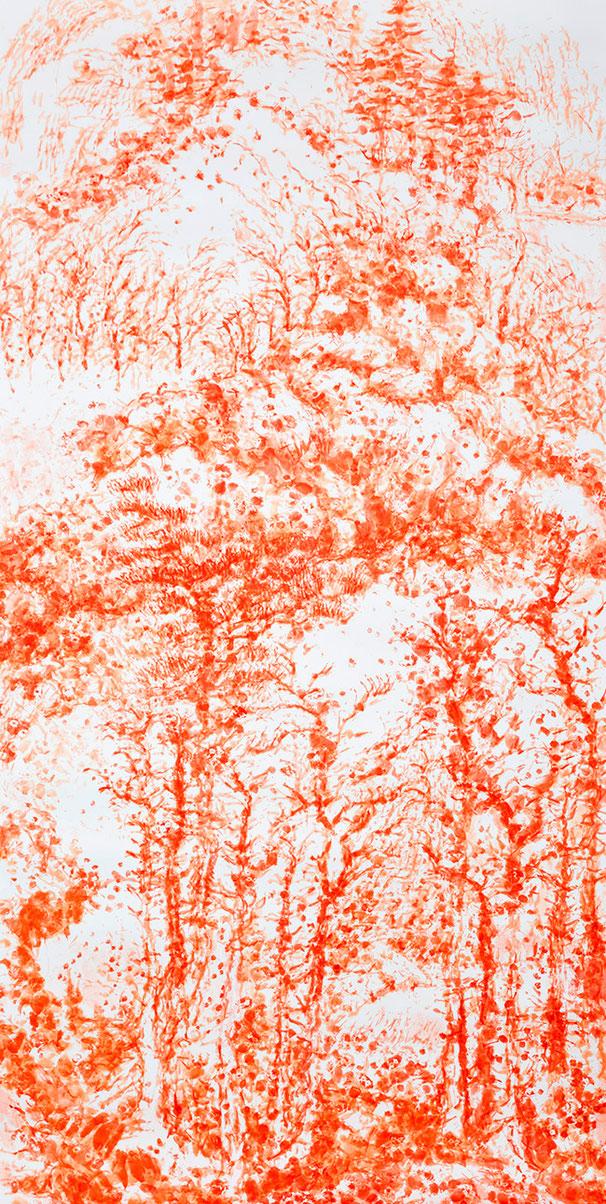 HERR IM GELIEHENEN GARTEN – MADE IN CHINA 2002 | Stofftierstempeldruck, Acryl auf Aquarellbütten | 315 × 156 cm