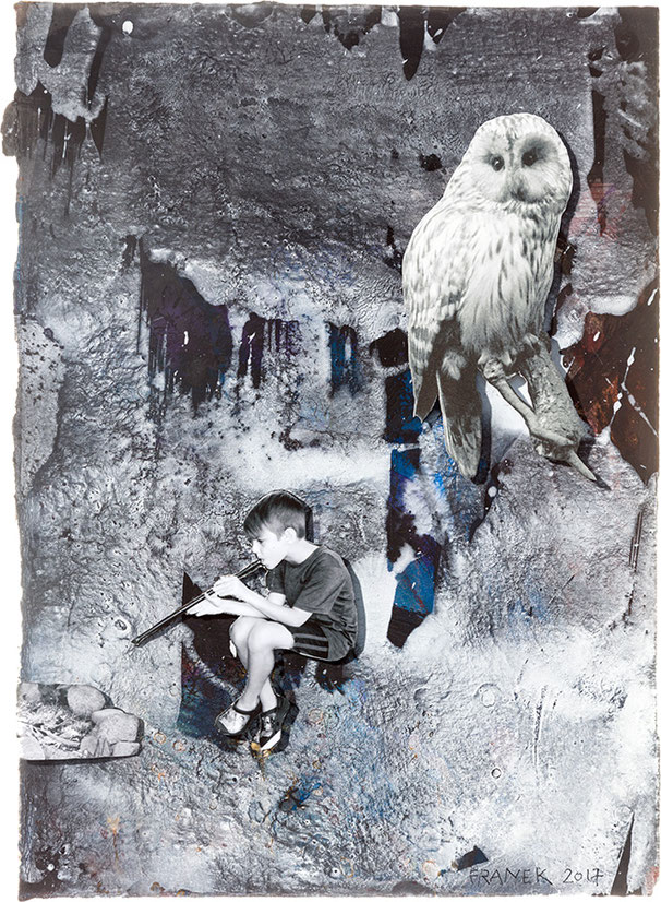 LOST I N TIME XV | 2017 | Bricolage auf Papier | 38 × 2 7 cm