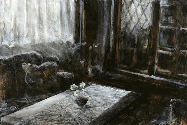 AVERKAUFTE ERINNERUNGEN | 2017 – 2019 | Serie | Fenster- und Türlasur, in den Farbtönen Ebenholz und Weiß, mit Gouache in Primärfarben nachträglich koloriert, 29-mm-MDF | 90 × 60 cm bzw. 60 × 90 cm