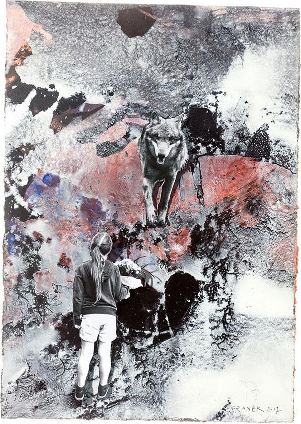 LOST I N TIME XXV | 2017 | Bricolage auf Papier | 38 × 2 7 cm