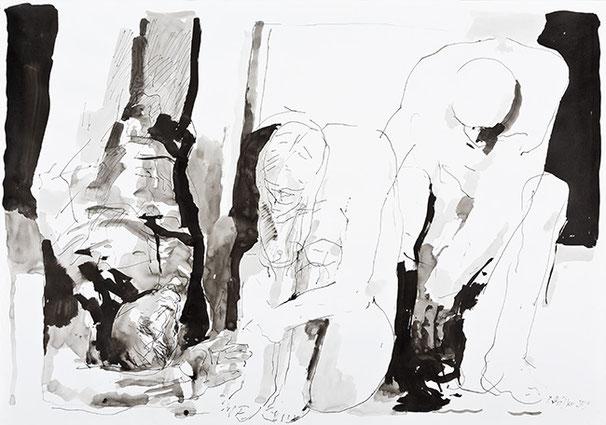 TRAUER | 2009 | Pinsel, Tuschezeichnung | 70 × 100 cm