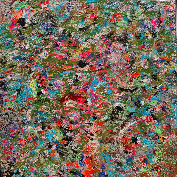 """Titel: """"COSMIC DEPARTURE"""" (2016), 70 cm x 70 cm"""