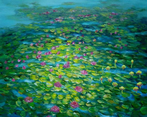 Am Teich, Öl auf Leinen, 40x30 cm, 190 €