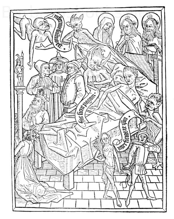 Sterbelager aus der Ars moriendi (Xyl. 17 der Münchner Hof- und Staatsbibliothek).