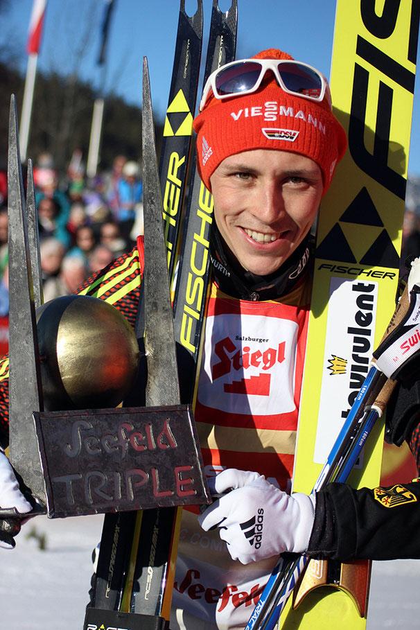 """Der Gewinner des Nordic Combined Triple 2017: Eric Frenzel, der """"König von Seefeld"""""""
