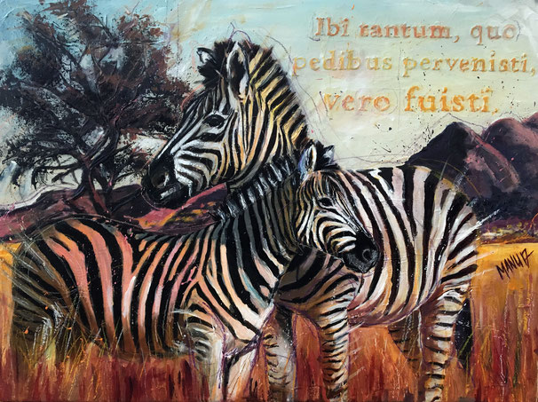 African Safari Lovers | Mixed Media auf Leinwand