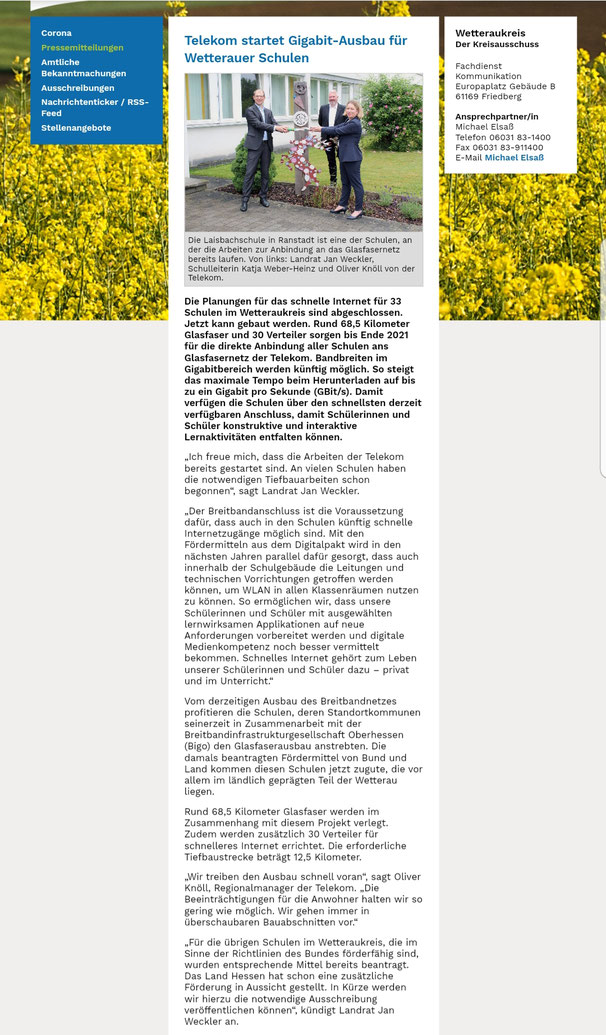 Pressemitteilung Wetteraukreis, 17.06.2020