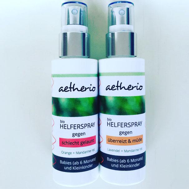aetherio – Bio-Helfersprays für Babies und Kleinkinder. Yoga Mama Blog MOMazing.