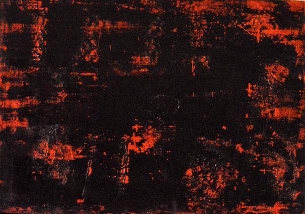 Piccolo caos.Acrilico e sablè su legno.41x29.2016