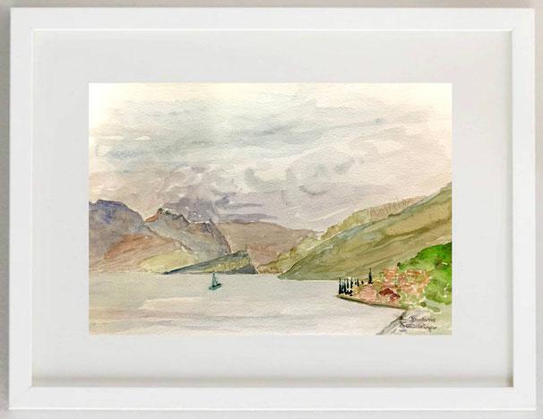"77 / ULRICH FLÜCKIGER, ""Lago di Garda"", Aquarell, 30 x 20"