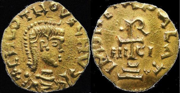 Münze mit dem Abbild Chlodwigs II.
