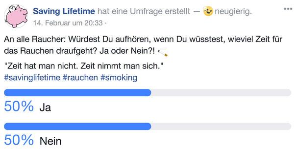 Umfrage innerhalb unser Facebook-Community zum Thema Rauchen, 25.02.2018