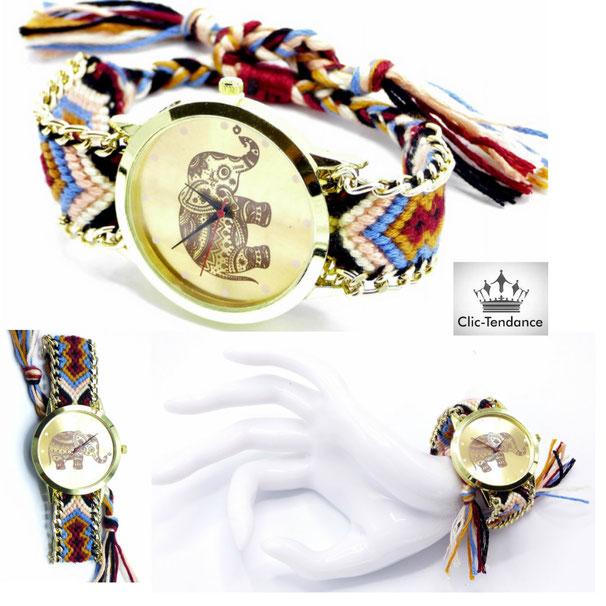 montre bresilienne bracelet tissus tressé