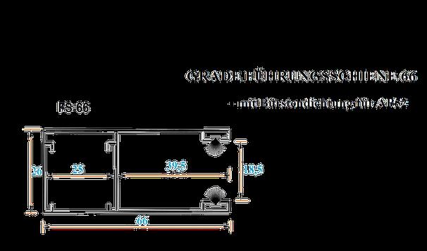 Alu Führungsschienen für Rolltore Garagentore mit 52mm Lamellen