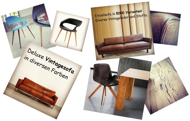 Vintagemöbel, Lederstühle, Holztische auf Mass