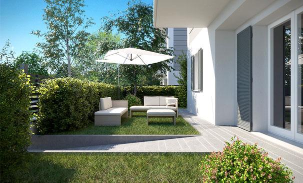 Immagine render soggiorno tricamere con giardino Via Monte Festa vic