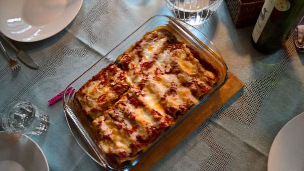 Canneloni mit Brennesseln gefüllt