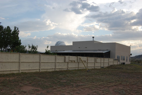 The back of the compound showing Tom's observatory dome