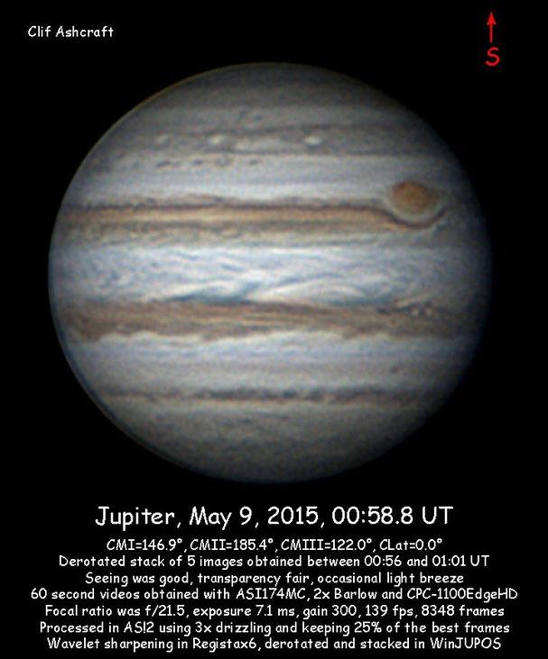 Jupiter, observations through May, 2017, ASI224, 120, and