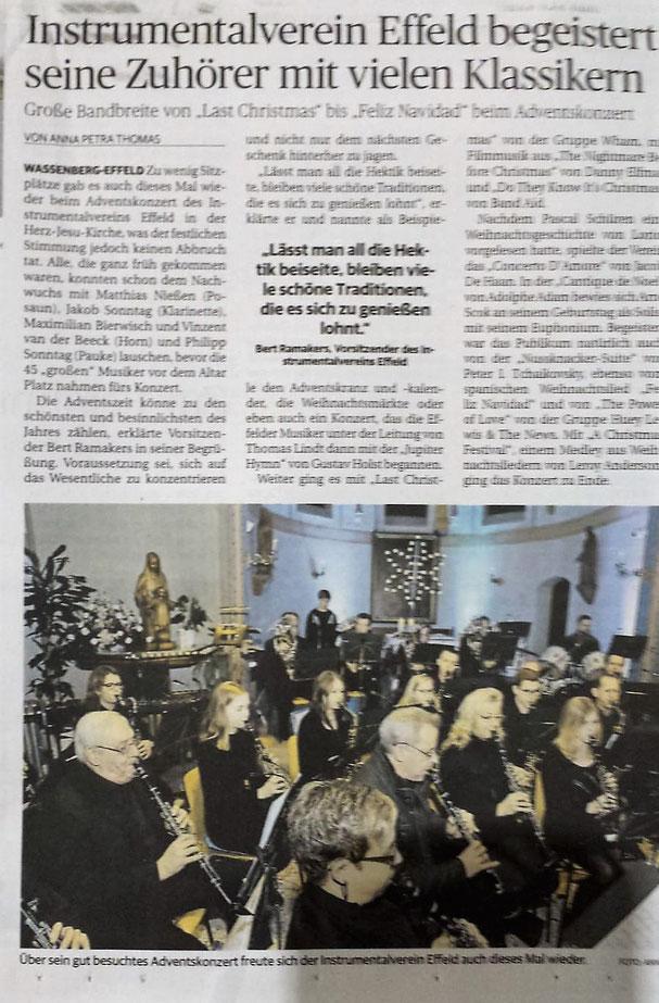 Instrumentalverein Effeld Adventskonzert 2018, Dirigent Thomas Lindt